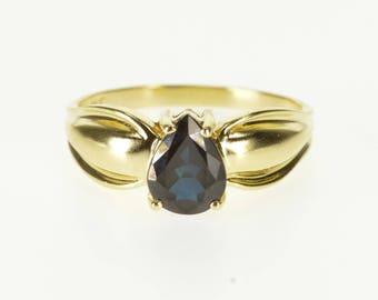 14k Pear Cut Prong Set Sapphire Scalloped Band Ring Gold
