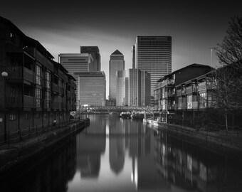 London Fine Art Photo Print: Standing Tall, The City of London, Canary Wharf.