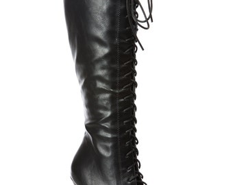 Black Lace Up Knee High Platform Boots 7M