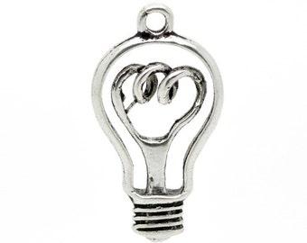 Light Bulb Charms Light Bulb Pendants Electric Light Idea Charms Large Charm  4031