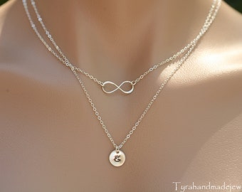 Double layered infinity initial necklace,personalized infinity necklace with initial,Bridesmaid gifts,Layered infinity and Initial Necklace