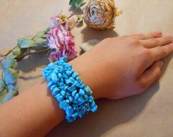 Stone Chip Bracelet | Turquoise Bracelet | Stone Bracelet | Woven Bracelet | Stretch Bracelet | Gemstone Bracelet | Boho | Bohemian | Blue