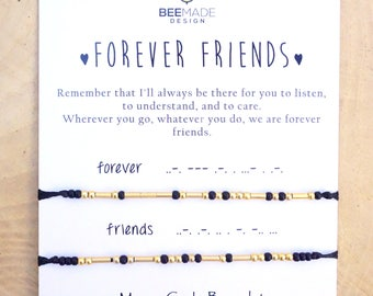 Forever Friends jewelry Morse Code Bracelets Long Distance Friends Relationship Bracelet Best Friend Matching going away gift for birthday