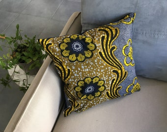 Cover of Pillow - escape cotton - fabric 100% Wax cotton - 45 * 45 cm - African print - blue