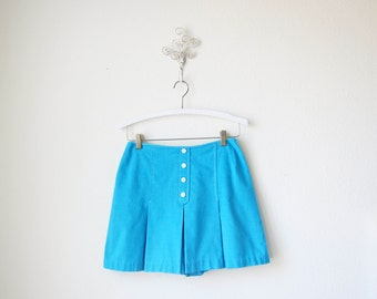 1980s vintage blue high waist button front tennis skort shorts waist button front shorts s