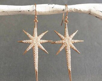 Polaris Star Earrings, North Star Earrings, RG star earrings, Rose gold plated star Earrings, North Star Jewelry, Gift for her, muse411