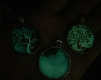 Glow in dark tree of life pendant