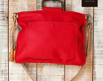 Red crossbody bag, small shoulder bag, work bag for women, casual leather bag, soft leather cross body bag, bag everyday womens, red satchel