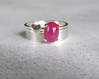 Stackable Ring - Silver Stacking Ring - Ring Stack - Ruby Ring - Gemstone Ring - Gemstone Stack - Cabochon Ring - Heart Ring