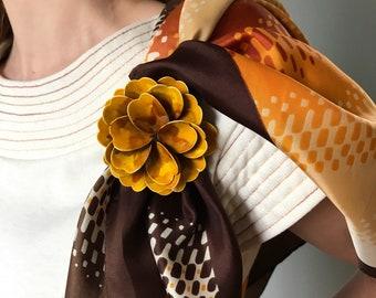 Vintage 60s Marigold Yellow Flower Brooch