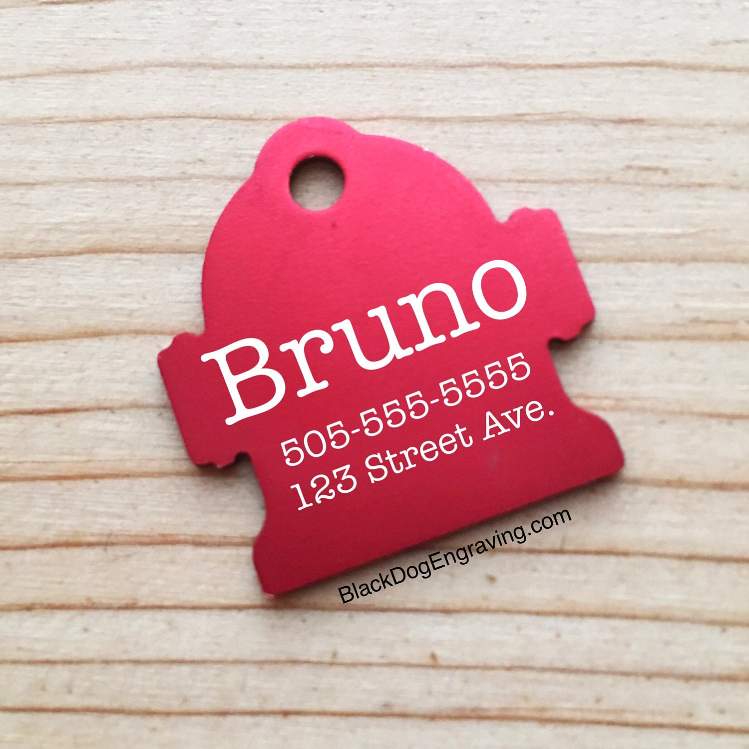 Laser Engraved Large Hydrant Dog Pet ID Tag