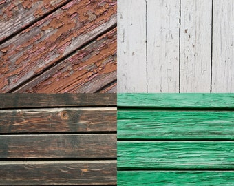 COMBO / FOUR PACK / 2ft x 2ft Vinyl Photography Backdrops for Product Photos Vintage Wood Floordrops Fl3