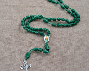 Jesus Sacred Heart Green Regular Rope Rosary with Metal Cross and Pendent