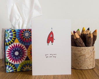 SALE * Get Well Bug Cards, Get Well Cards, Greetings Cards, Blank Cards, Note Cards, Cute, Funny, Happy