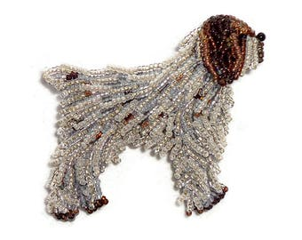 WIRE Haired POINTING GRIFFON beaded dog pin brooch art jewelry (Made to Order)
