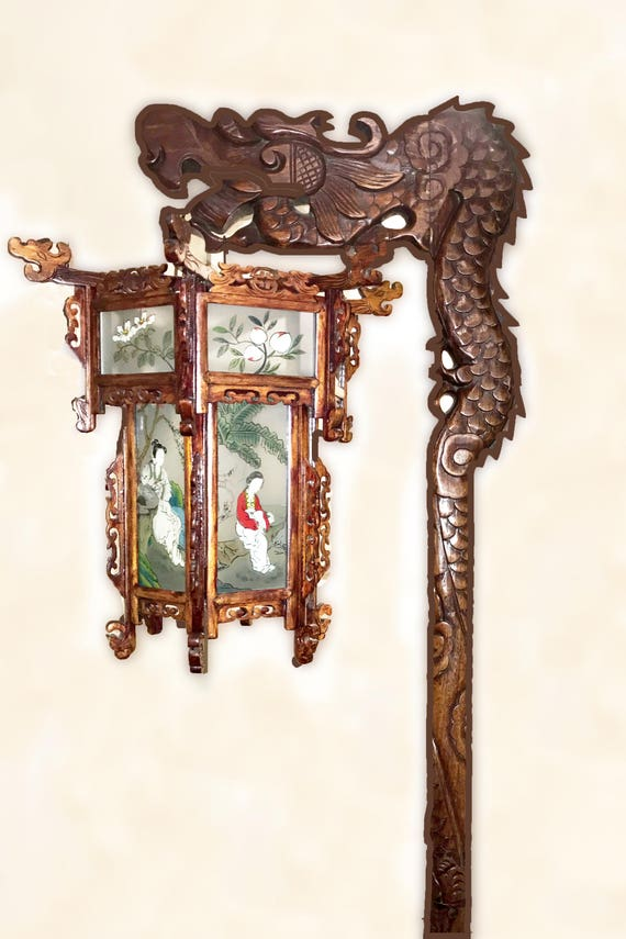 Chinese Dragon Floor Lamp 1920s To 1930s Rare Exotic Wood