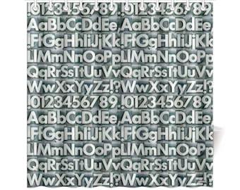 Vintage Metal Type Alphabet Shower Curtain - alphabet letters fonts graphic designer