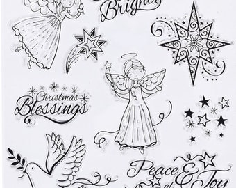 Shine Bright Clear Rubber Stamp Set w/ star, Christmas, blessings, angel, dove, Peace, Joy, holiday, bird, card making, scrapbooking