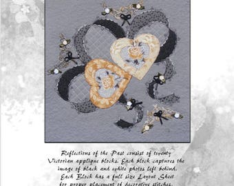 PDF Applique Quilt Block Pattern Download, Victorian applique Block 13 Two Hearts, Reflections of the Past,