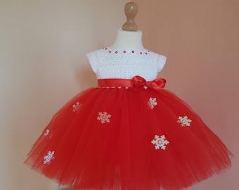 CHRISTMAS TUTU DRESS, red tutu dress, crochet tutu dress, baby first christmas