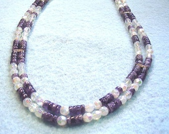 Purple Amethyst Necklace, White Faceted Crystal Jewelry, Business Jewelry, Stone Bead Necklace, February Birthday Jewelry Gift