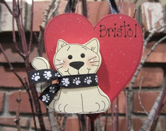 Personalized Cat Heart Ornament