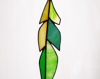 Stained Glass Gull Feather in Shades of Green