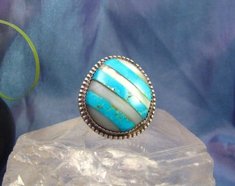 Vintage Sterling Ring Native Southwest 925 Unusual Turquoise Mother of Pearl Design 15.6 Grams Ring Sz 7 #748