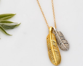 Bird Feather Charm Necklace - Gold Feather necklace - Silver Feather Necklace - Bridesmaid Jewelry
