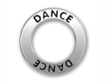 5 Silver Affirmation Ring Dance Charm Bracelet Connector 22mm by TIJC SP0565