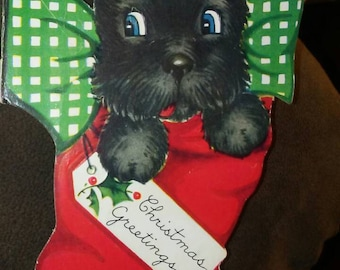 1939 Puppy Dog in Stocking Christmas Card Tale