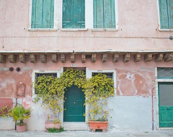 Venice Italy Photography, Aqua Pink Art, Italian Art, Venice Italy Art, Travel Photography, Fine Art Photo, Vintage Decor