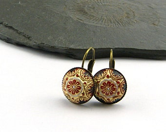 Red, Gold and Black Glass Mosaic Cabochon Earrings in aged Brass Setting. Handpainted Vintage Glass Cabochons 14 mm. Perfect Holiday Gift.
