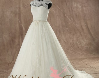 Gorgeous French Lace Ballgown Wedding Dress Custom Made to your Measurements