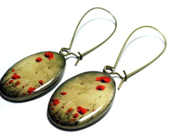 Poppy Flower Earrings, Handmade, Resin Earrings, Dangle Earrings, Resin Jewelry, Red Poppy Flower Jewelry, Red Poppies, Red Earrings