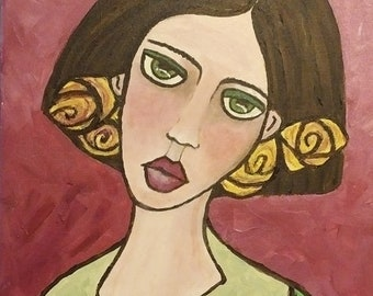 "OOAK Acrylic 11"" x 14"" Painting on Canvas ""Macintosh Rose Girl"", Comes Framed and Ready to Hang"
