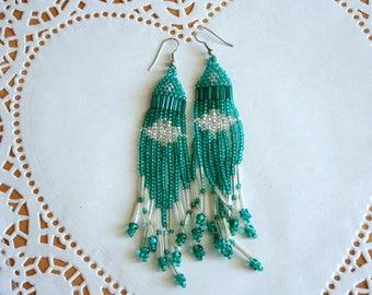 Vintage Beaded Southwest Style Earrings |  Boho, Beaded, Woven Tassel Earrings  | Collectible Gift Idea |