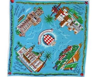 "Souvenir hankie Kingdom of Monaco Grace Kelly  10,8"" x 10,8"""