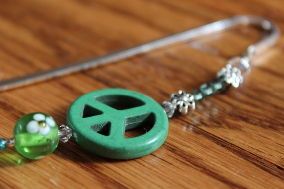 Peace Sign Bookmark, Green Peace Beaded Bookmark