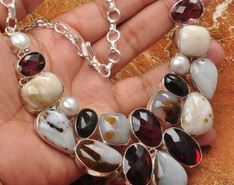 """Natural Polka Dot Agate, crystal silver plated 15""""-18"""" necklace ( #J701)"""