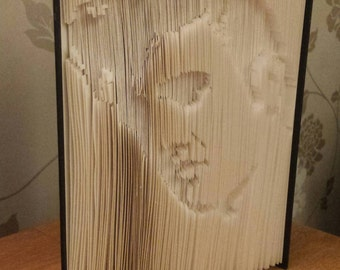 Elvis book fold, folded book,  Elvis Presley paper sculpture, cut and fold, Elvis fan folded book, Elvis lover