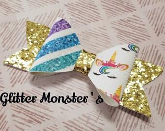 Rainbow Unicorn Hair Bow,Unicorn Hair Bow,Unicorn Headband,Glitter Unicorn Bow,Leather Bows,Rainbow Glitter Bow,Toddler Bows,Girls Hair Clip