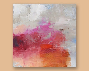 "Original Abstract Art Painting  •  12"" x  12"" Contemporary Art  • FLOATING SQUARE #6  •  Oil Painting"