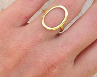 Gold Circle Ring - Gold Ring - Large Circle Ring