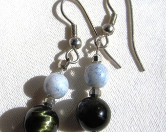 8mm Round Blue Tigers Eye and Blue Druk Beads Silver Plated Dangle Earrings