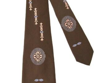 Vintage Beau Brummel Brown Silk Tie