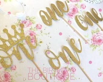 Glitter Cake Topper| One Cake Topper| Glitter Gold ONE| 1st Birthday Cake Topper| ONE Cake Topper| First Birthday|