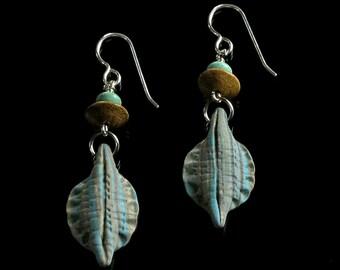 Unique Rustic Drop Earrings, Long Tribal Dangle Earrings, Turquoise & Tan Polymer Clay Earrings, Earthy Art Jewelry, Unique Gift for Her