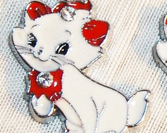 Kitty necklace red and white enamel with rhinestones 18 inch chain