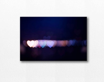 abstract canvas art bokeh photography canvas print hearts 12x18 24x36 fine art photography abstract large canvas wrap valentines city lights